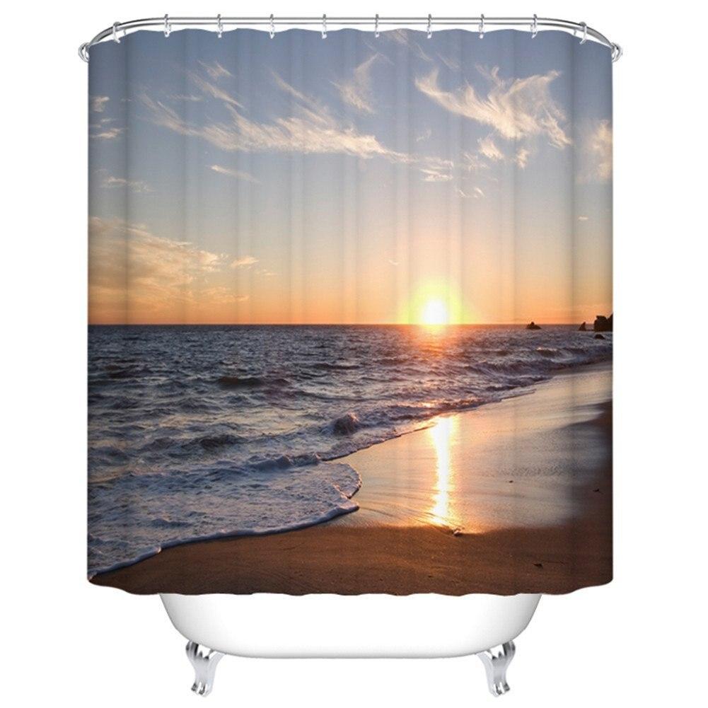 Ocean shower curtains - Memory Home Beach Shower Curtain Ocean Waves Sunset Pattern For Bathroom Decor Polyester Fabric Waterproof Bath Curtains
