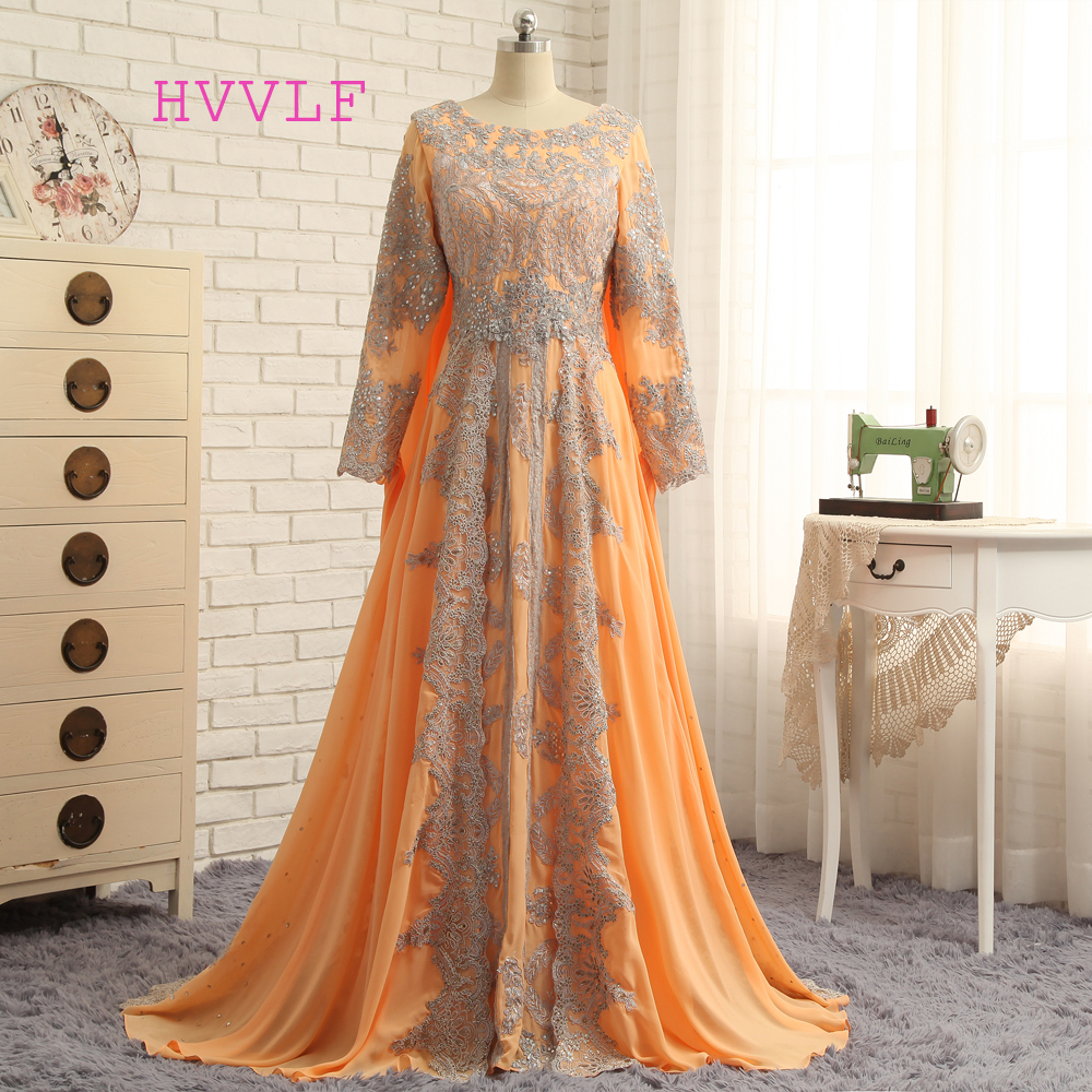 New Muslim Evening Dresses 2019 A-line Long Sleeves Chiffon Lace Orange Elegant Long Evening Gown Prom Dress Prom Gown