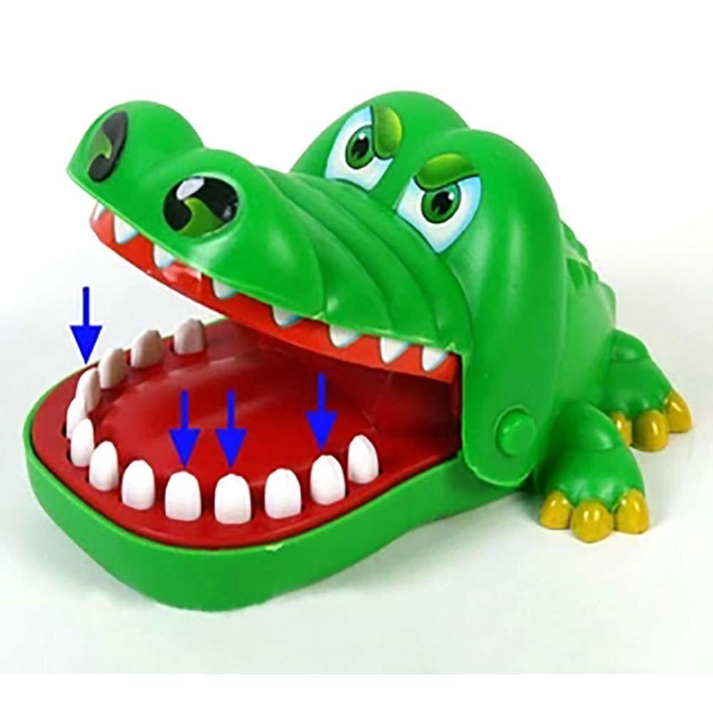 Creative Novelty Practical Jokes Mouth Tooth Alligator Family Classic Biting Hand Crocodile Game Green Blue Yellow Random(China)