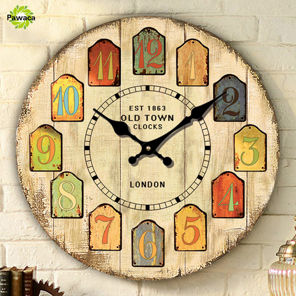 Large Decorative Wall Clocks Vintage Design Silent Living Room Wall ...