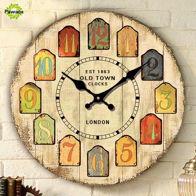 Large Decorative Wall Clocks Vintage Design Silent Living Room Wall ...