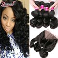 Malaysian Lace Frontal Closure With Bundles Loose Wave Malaysian Virgin Hair With Frontal Closure 360 Lace Frontal With Bundle