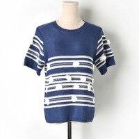 New 2019 Runway tshirt Women Harajuku Knitted Striped Vintage Tees Shirt tee shirt femme Casual Short t shirt Top camiseta mujer
