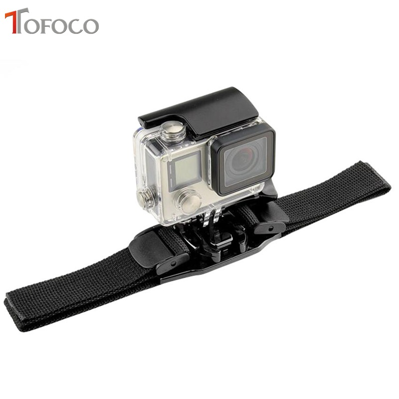 TOFOCO Ventileret Justerbar Hjelm Strap Head Belt Til Go Pro Mount Holder Adapter til Gopro Hero 4/3 + / 3/2/1 kamera
