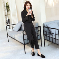 Fashion Two Sets 2018 New Styles Thin Vertical Striped Pants Tide Elegant Office Lady High End Female Suit