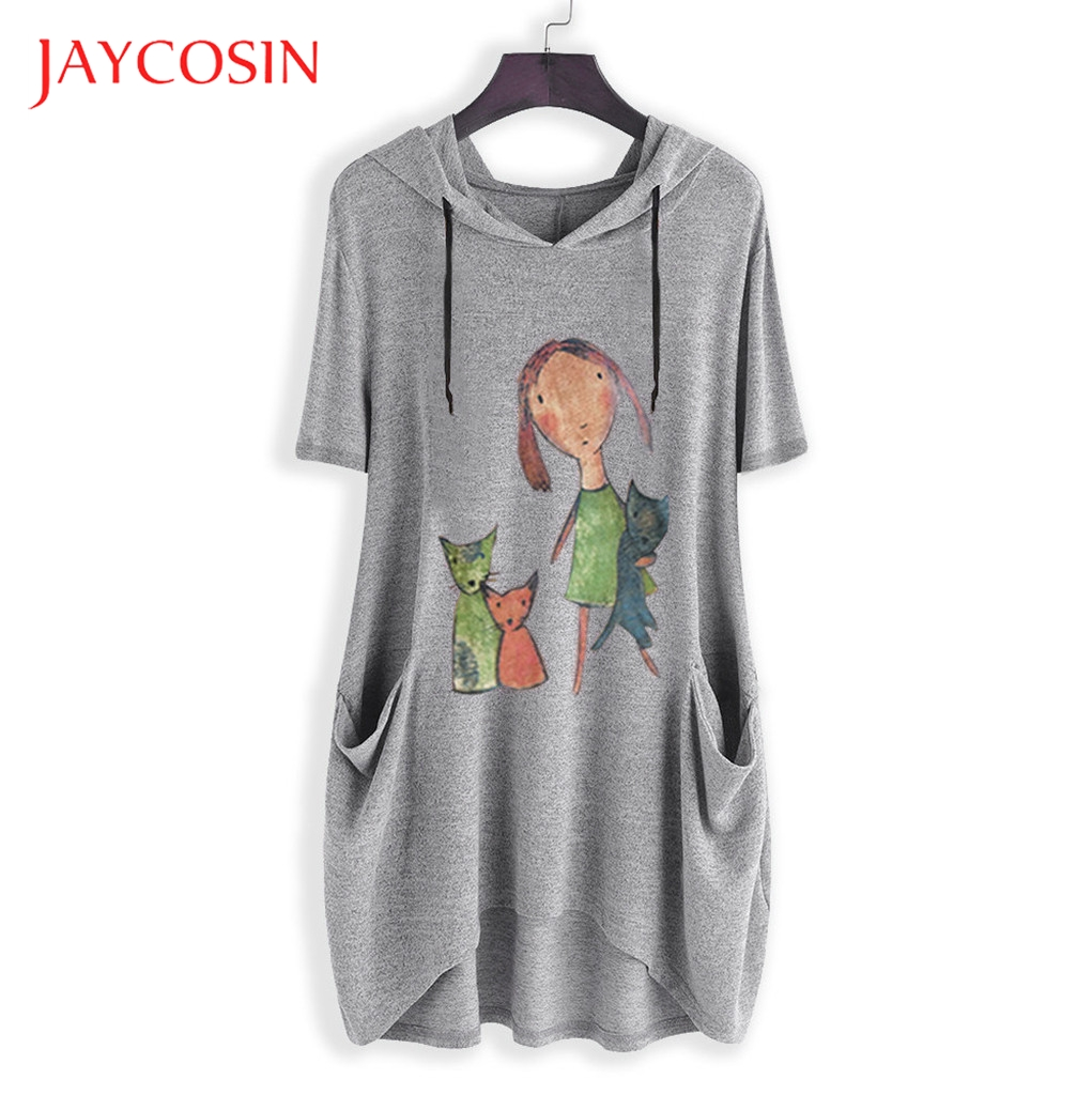 JAYCOSIN XXXXXL Plus size womens hoodies sweatshirts ladies Casual Print Cat Ear Hooded kawaii Short Sleeves Pocket long Shirt 7