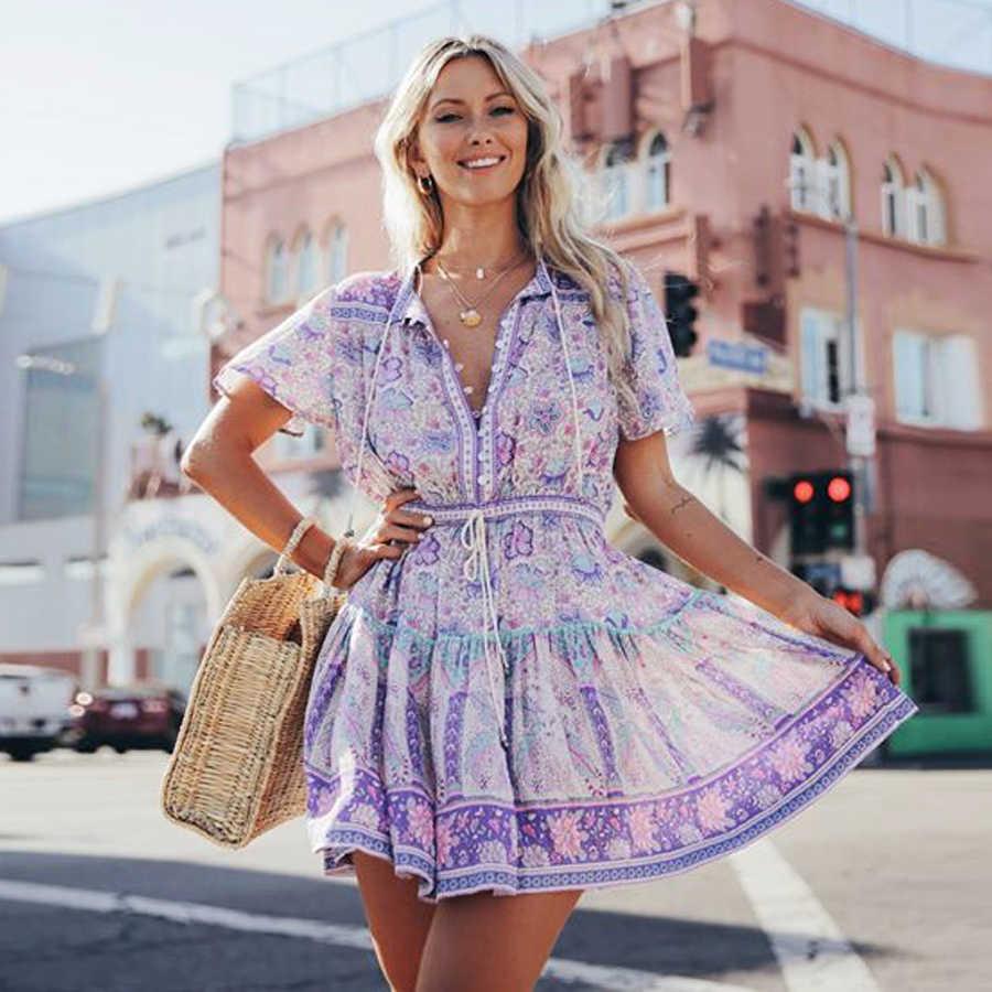 0bb286be438 TEELYNN mini dress lilac floral print rayon sexy V-neck summer dress  Drawstring waist women