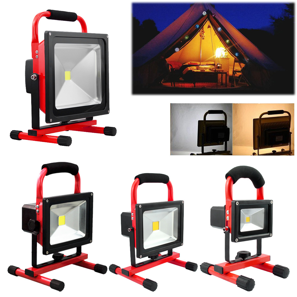 цена на 10/20/30/50W Flood Light Portable Rechargeable Red LED Floodlights Outdoor Industrial Work Lamp Warm Cold White Lighting IP65