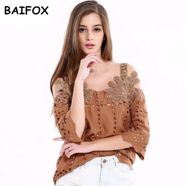 BAIFOX 2017 Novo Estilo das Mulheres Camis Tanque Sólidos Tops Retro antigo oco out boat neck flor origem menina mulher clothing moda