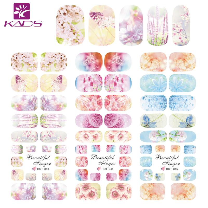 KADS HOT343-345 Fantasy Flowers Fashion Designs Nail Art Water Transfer Sticker Water Nail Decals Manicure for Nail Accessories 1pcs water nail art transfer nail sticker water decals beauty flowers nail design manicure stickers for nails decorations tools