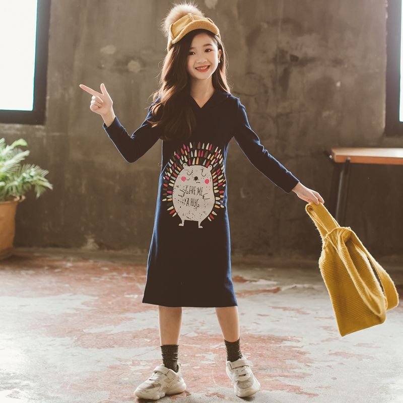 Nouveau 2019 Printemps Bébé robe pour filles Petits Enfants Coton Robe sweat à capuche enfants En Bas Âge Longue Style Chemises de Bande Dessinée Motif, #3008