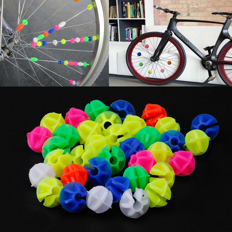 36Pcs Plastic Multi-color Bike Cycle Wheel Spoke Beads Children Bicycle Decors