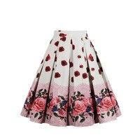New Vintage Skirt Wop loose Woman Girls Print Retro Ball Gown Skirt Femininos Casual Sexy Swing Vestidos