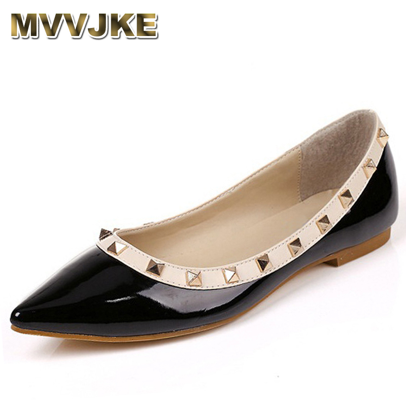 MVVJKE  New Fashion Casual Women Pointed Toe Rivet Flat Bottom Shoes Women Slip On Valentine Flats Candy Color Zapatos Mujer free shipping candy color women garden shoes breathable women beach shoes hsa21