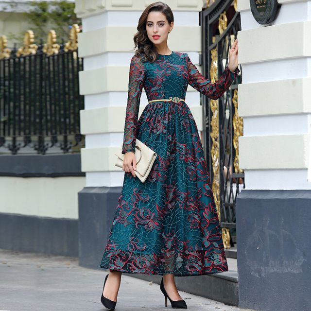 new arrival quality embroidery luxury long dress women long sleeve