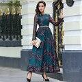 Nova qualidade chegada bordado luxo longo dress mulheres manga longa do vintage o-pescoço plus size maxi vestidos longos robe