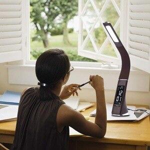 Image 5 - Woodpow gooseneck led lâmpada de mesa de escritório toque de couro como escurecimento lâmpada de mesa de leitura luz com despertador calendário display lcd