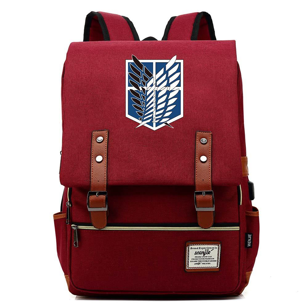 Anime Backpack Attack On Titan Laptop Shoulder Bags Daily Bagpack Anti-theft Canvas Flap Vintage Travel Backpacks Large Capacity