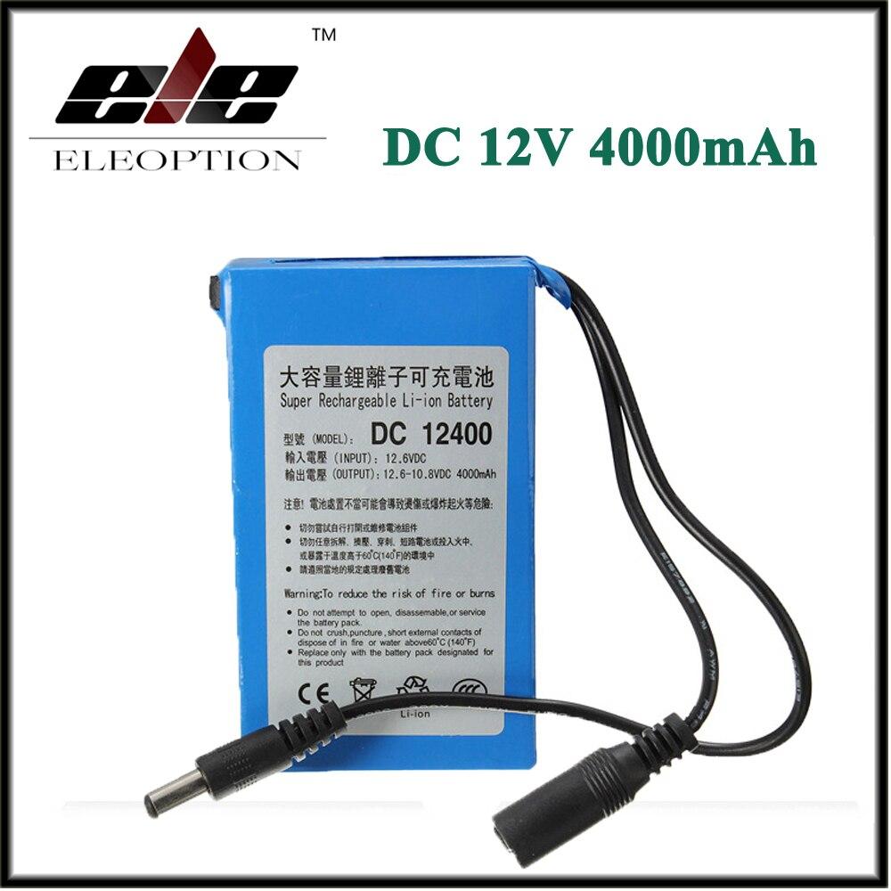 Haute Qualité Eleoption DC12400 DC 12 V 4000 mAh pour Super Protable Rechargeable Commutateur Li-ion Batterie Pack Avec Plug