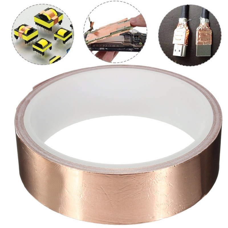 1pcs 25mmx4m Rose Gold Adhesive Single Face Electric Conduction Copper Foil Tape EMI Shielding Guitar Slug and Snail Barrier