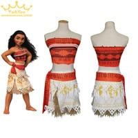 Drop Ship Movie Moana Princess Dress Cosplay Costume Women Children Kid Skirt Party Dress