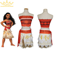 Drop Ship Movie Moana Princess Dress Cosplay Costume Women Children Kid Skirt Party Dress
