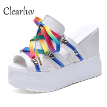 Summer Wedge Sandals Waterproof Platform Thick-soled High-heeled Muffin Sandals Shoes Color Roman Fish Mouth Slippers C1279 new roman women sandals wedges high heeled 14 5cm waterproof platform zip sandals women girl student fish mouth casual shoes