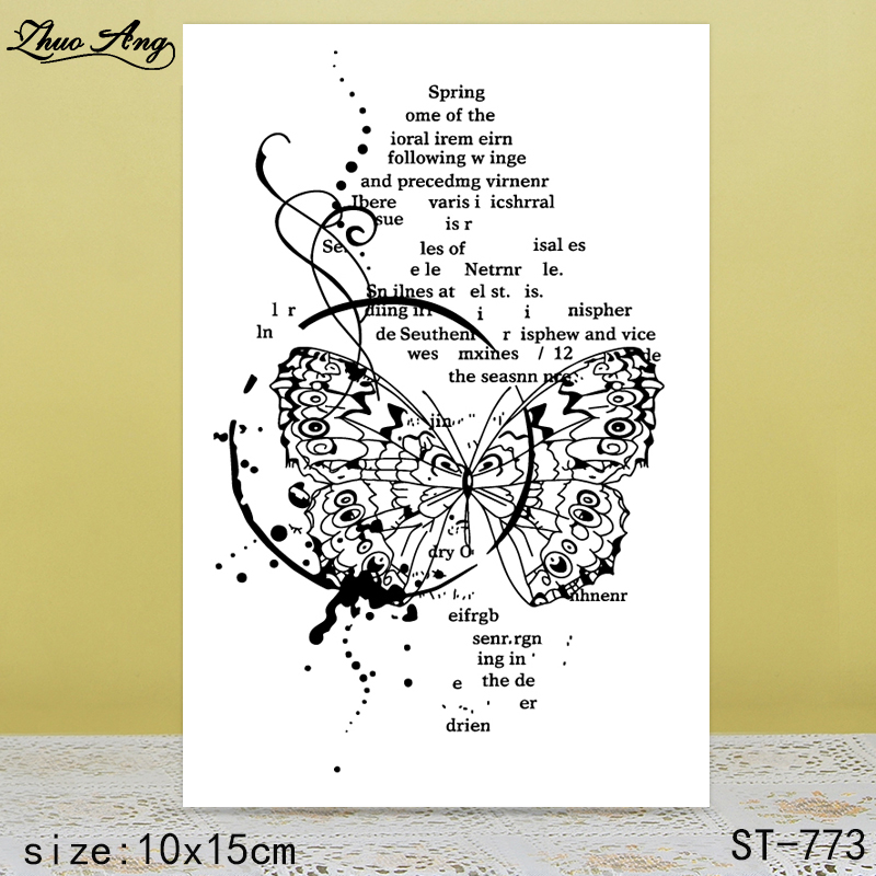 ZhuoAng Injured Butterfly Clear Stamps For DIY Scrapbooking/Card Making/Album Decorative Silicon Stamp Crafts