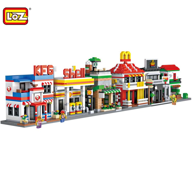 6types LOZ Mini Store Big size Small Shop DIY Building Toys Cartoon Micro Bricks Toys Architecture Model Building  9032-9037 loz mini diamond block world famous architecture financial center swfc shangha china city nanoblock model brick educational toys