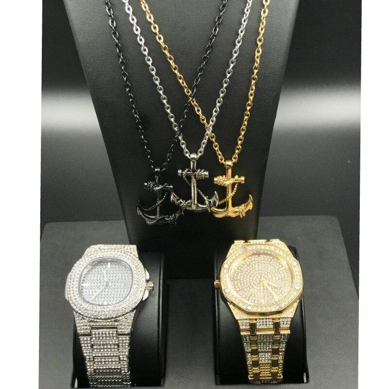 Bijoux de luxe en or hip hop montre élégante collier Combo ensemble montre diamant MenHip Hop ancre pendentif et corde chaîne ensemble