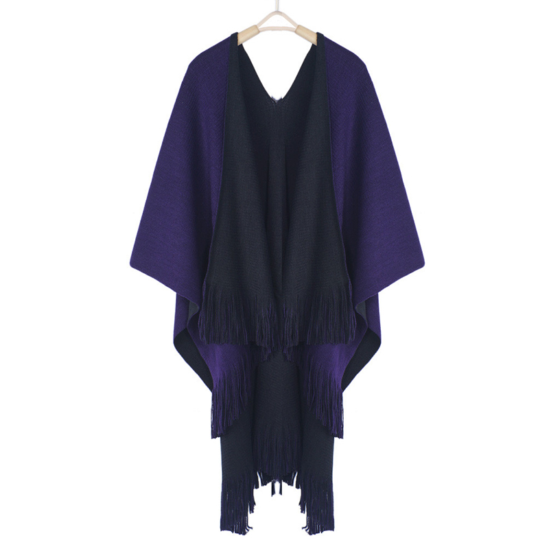 Image 4 - Women Cardigans Solid Shawls Knitted Poncho Blanket Oversized Reversible Reversed Sided Scarf Tassel Fashion Poncho And Capes-in Women's Scarves from Apparel Accessories