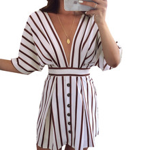 Sexy Deep V Neck Striped Print Mini Summer Dress Sexy Backless Casual Front Button Women Dress Half Sleeve Belt Halter Dress New