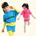 Girl's Clothing Set for Spring and Fall 2 Pieces: Children's Batwing Sleeve Dress + Leggings Suits Set