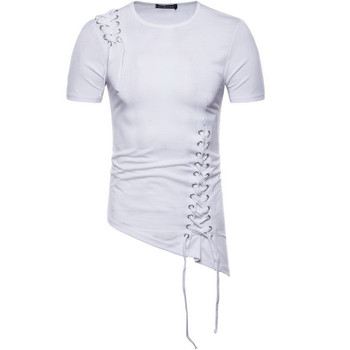The New Summer European And American Style Irregular Design Of The Short Sleeves Men T-shirt.