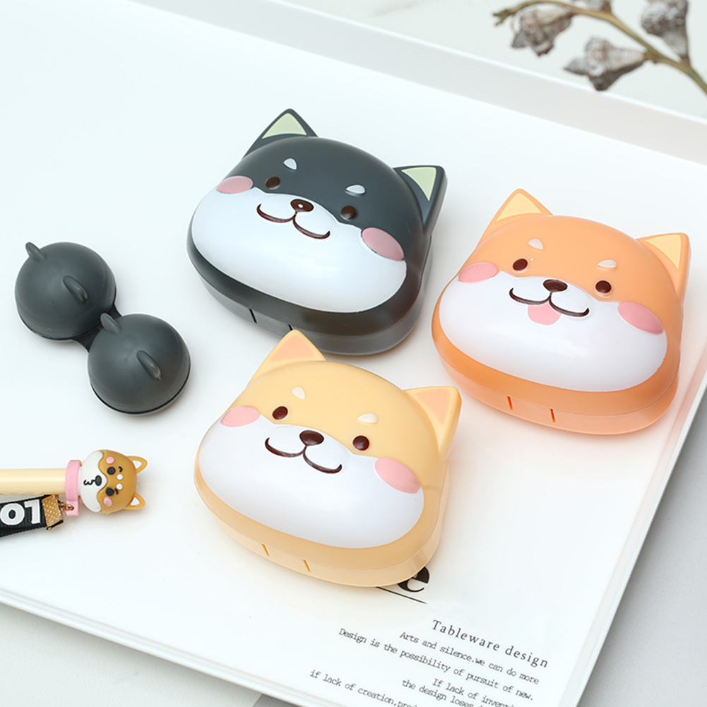 Cute Contact Lens Cartoon Case Holder Hard Contact Lens Case Set With Mirror Travel Lenses Box Container Spectacle Cases