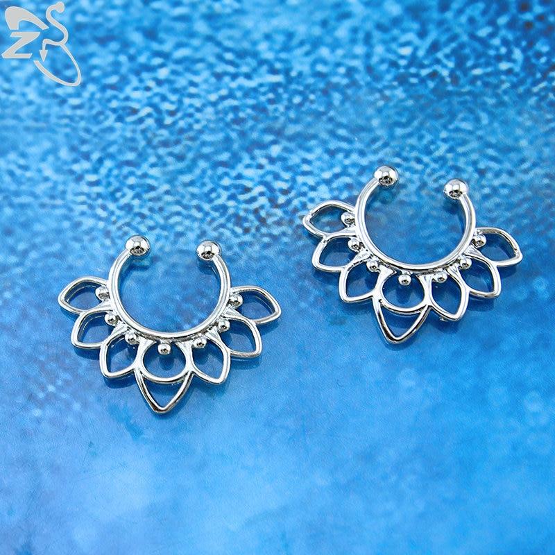 ZS 16g Flower Fake Nose Ring Septum Indian Nose Ring Stud Stainless Steel Fake Nose Piercing Ring Fake Septum Clicker