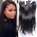 7A Straight Clip in Human Hair Extensions Straight Clip Hair Extension Natural Hair Natural Black Color 7PCS/Set Clip Ins