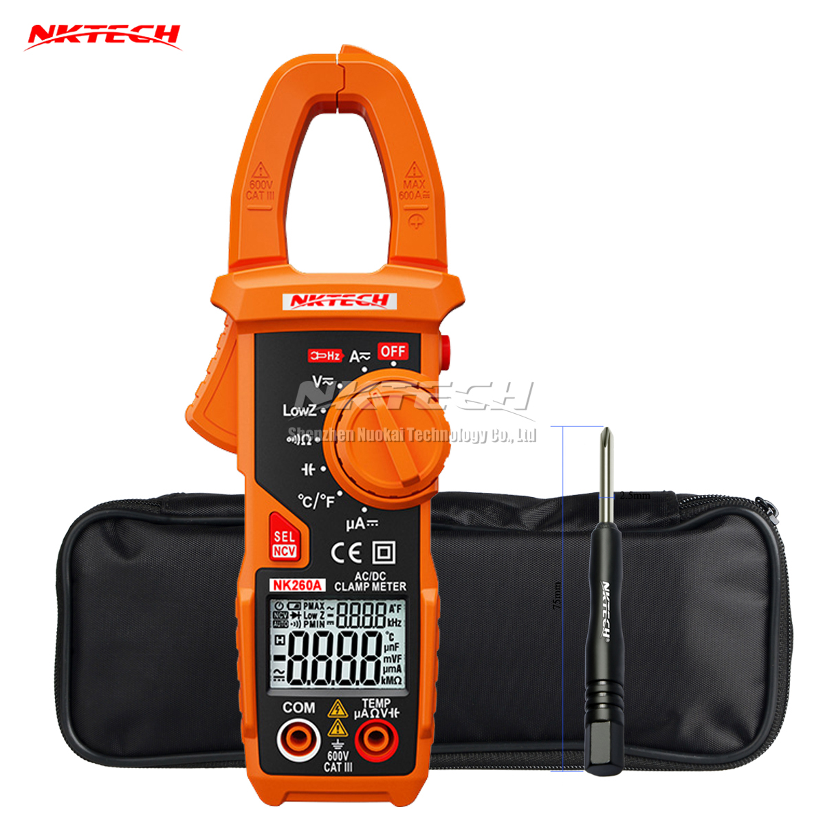 NKTECH NK260A Digital Clamp Meter Temperature AC DC Voltage Current Resistance Capacitance Frequency Auto Recognize V/Ohm/A Test nc dc dc dc adjustable voltage regulator module integrated voltage meter 8a voltage stabilized power supply