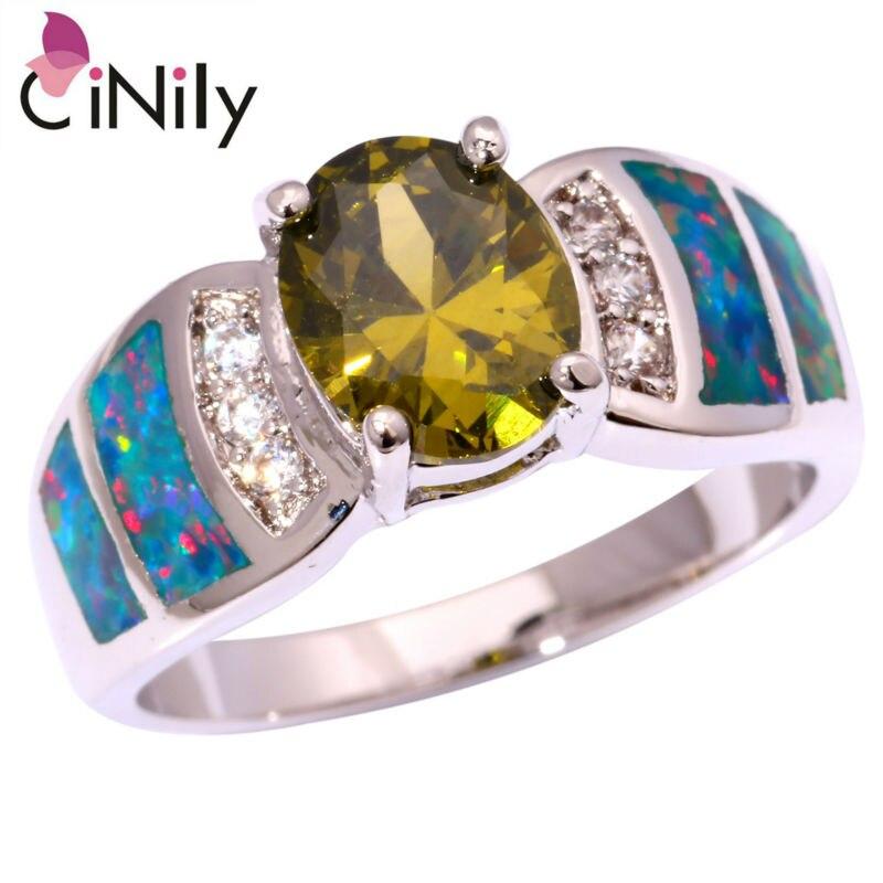Created Rainbow Fire Opal Peridot Cubic Zirconia Silver Plated Ring Wholesale Retail Women Jewelry Ring Size 6 7 8 9 9.5 OJ8891