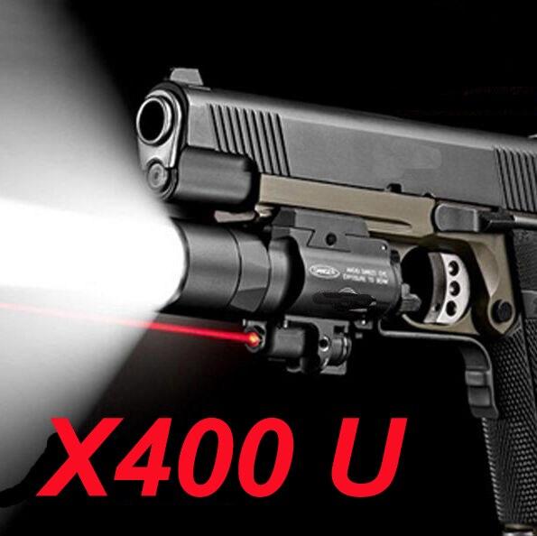 Chasse lampe de poche SF X400U ULTRA LED Lampe Tactique 20mm Picatinny Rail de Tisserand Arme Légère Avec Laser Rouge Pour Pistolet