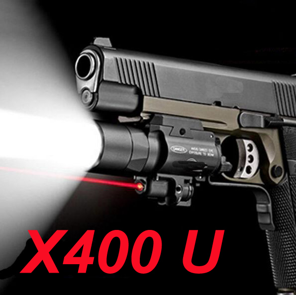 Hunting flashlight SF X400U ULTRA LED Tactical Light 20mm Picatinny Weaver Rail Weapon Light With Red Laser For Pistol tgpul tactical x400 gun light led flashlight for pistol handgun laser combo light hunting scout torch for weaver picatinny rail