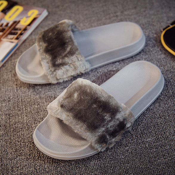 24eea08e0f8 Προϊόν - 2018 Fur Slides Women Summer Beach Shoes Woman Fur Slippers Flat  Heels Flip Flops Ladies Rihanna Bohemia Sandals Sandalias