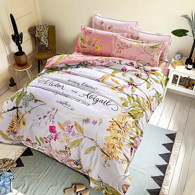 Bright Color Watercolor Pink Peach Blossom Bedding Sets Queen King Size  Brushed Cotton Fabric Warm Bed