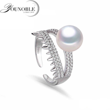 Wedding freshwater pearl rings for women,Natural pearl rings silver 925 fashion white genuine lady ring trendy wife gift white white pink purple natural freshwater pearl wedding ring adjustable rings for wife hot sale
