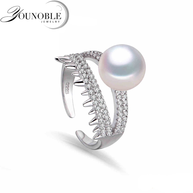 Wedding freshwater pearl rings for women,Natural pearl rings silver 925 fashion white genuine lady ring trendy wife gift white