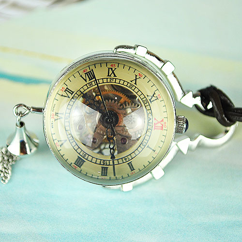 Wholesale Brass ANTIQUE STYLE Crystal Ball POCKET WATCH CHAIN Sliver