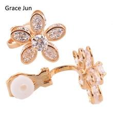 Gracia Jun (TM) 3 Colores Estilo de La Flor AAA CZ No Traspasaron Clip en Los Pendientes para Las Mujeres Del Partido Fine Jewelry Pendientes de Novia Bijouterie