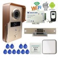 Free Shipping Wireless POE Wifi Doorbell Camera Phone Remote View Unlock Metal RFID Access Video Intercom Electric Strike Lock