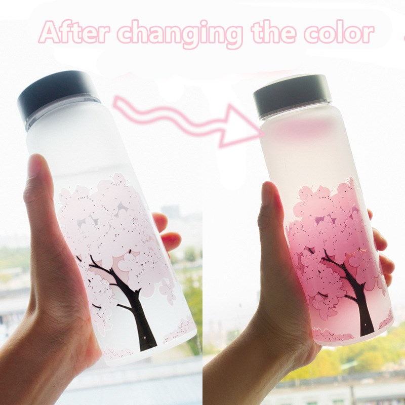 420/600/1000ml Japanese Changing Color Cherry Blossoms Glass Water Bottle Student Travel Cup Milk Kettle Lemon Juice Drinkware
