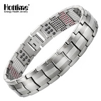 Hottime Men Jewelry Healing Magnetic Bangle Balance Health Bracelet Silver Titanium Bracelets Special Design For Male